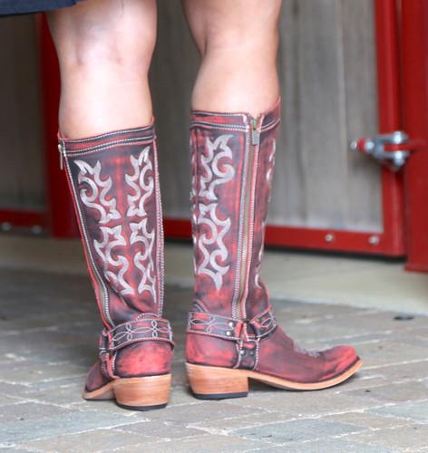 Liberty Black Biker Vintage Rojo Boots LB711135 Heel
