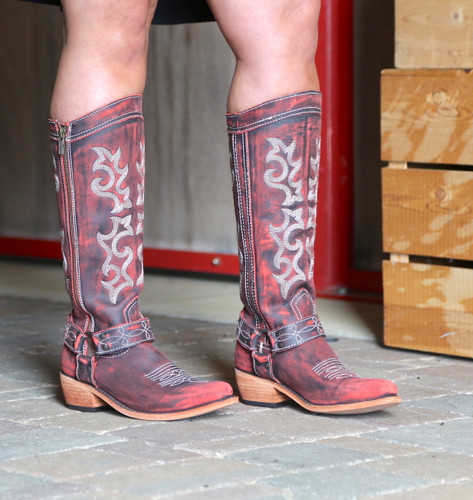 Liberty Black Biker Vintage Rojo Boots LB711135 Side