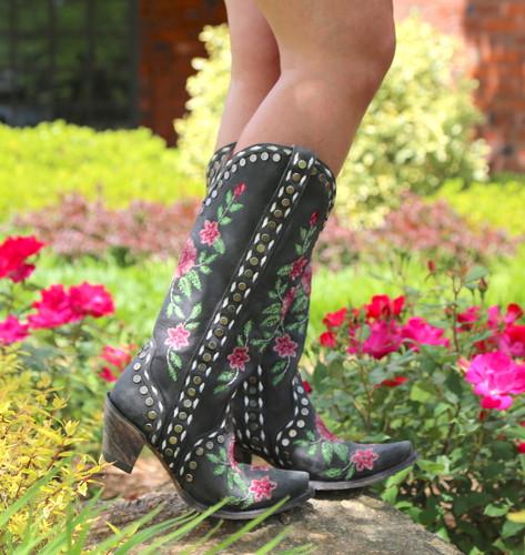 Junk Gypsy By Lane Needlepoint Black Boots JG0053A Side