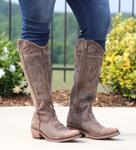 Liberty Black Braided Riding Boot Vintage Canela LB711173 Picture