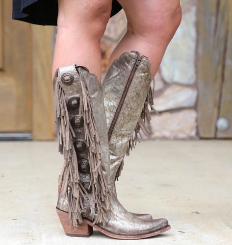 Liberty Black Ophelia Buffed Metal Boots LB712953 Conchos