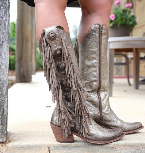 Liberty Black Ophelia Buffed Metal Boots LB712953 Zipper