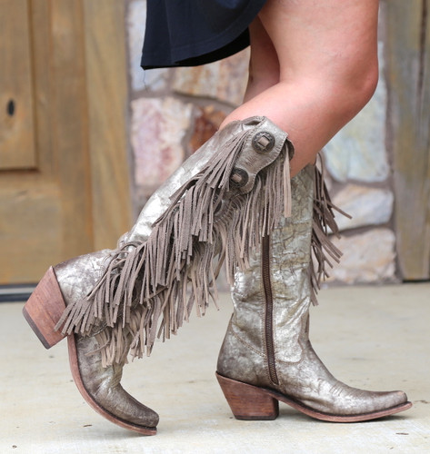 Liberty Black Ophelia Buffed Metal Boots LB712953 Fringe