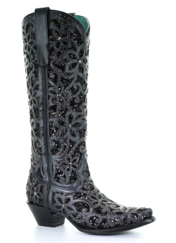 Corral Black Full Inlay and Studs Tall Top Boots A3589 Picture