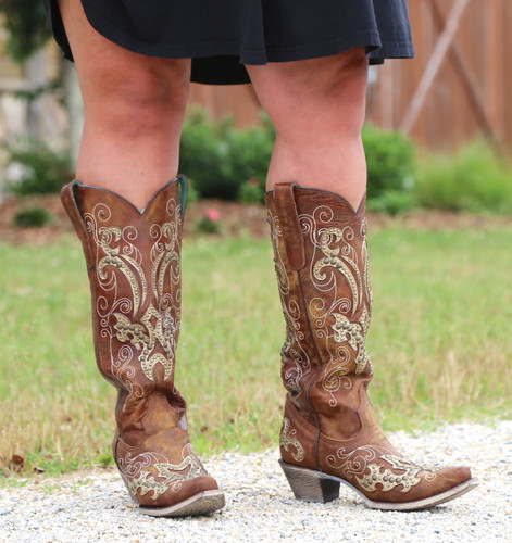 Corral Brown Overlay Embroidery Studs and Crystals Boots A3638 Front