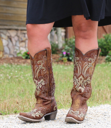 Corral Brown Overlay Embroidery Studs and Crystals Boots A3638 Photo