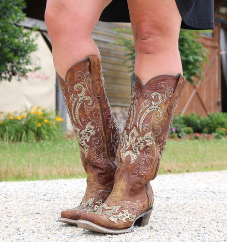 Corral Brown Overlay Embroidery Studs and Crystals Boots A3638 Picture