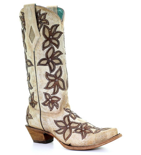 Corral Bone Brown Floral Overlay and Crystals Boots C3462 Picture