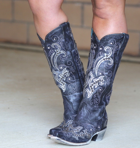 Corral Black Overlay Embroidery Studs and Crystals Boots A3637 Image