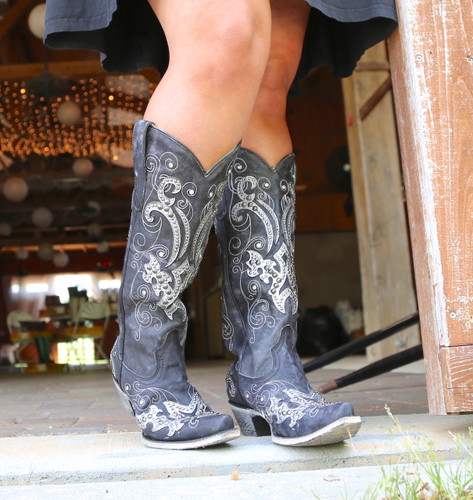 Corral Black Overlay Embroidery Studs and Crystals Boots A3637 Picture