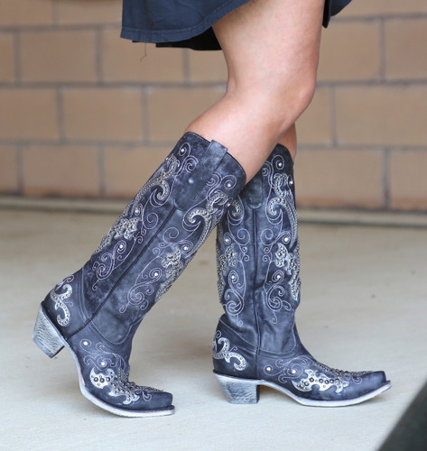 Corral Black Overlay Embroidery Studs and Crystals Boots A3637 Walk