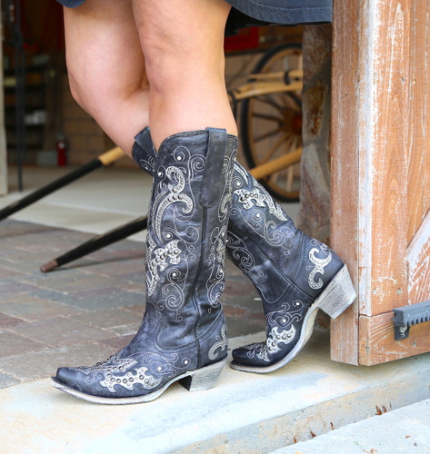 Corral Black Overlay Embroidery Studs and Crystals Boots A3637 Photo