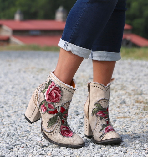 Old Gringo Carla Short Crackled Taupe Boots BL3184-3 Rose