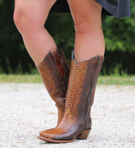 Corral Tan Full Python Woven Boots A3659 Picture