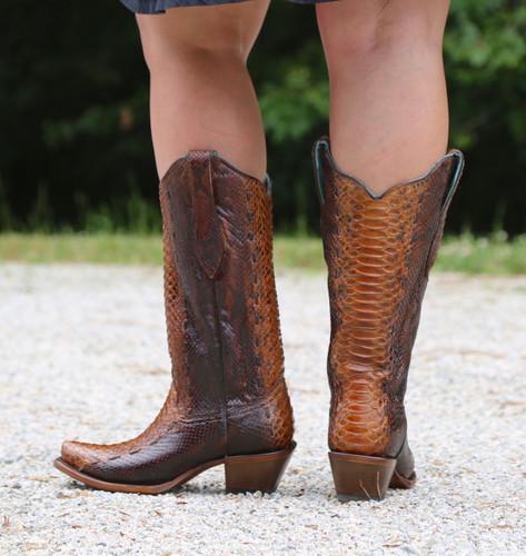 Corral Tan Full Python Woven Boots A3659 Heel
