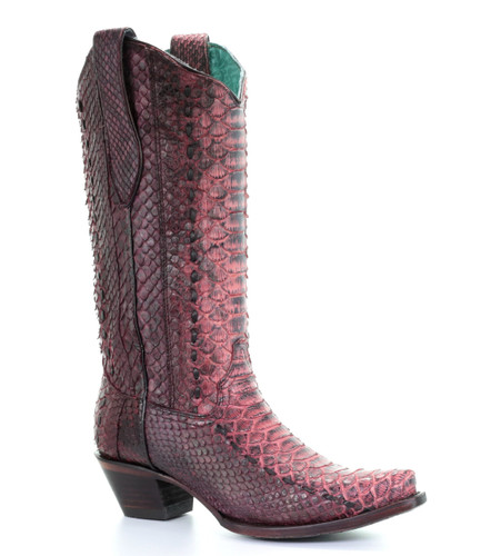 Corral Red Full Python Woven Boots A3660 Picture