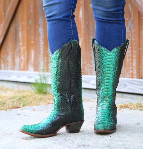 Corral Turquoise Full Python Woven Boots A3661 Side
