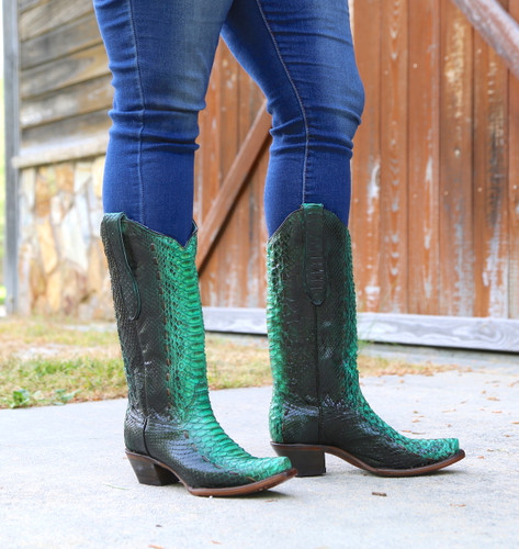 Corral Turquoise Full Python Woven Boots A3661 Photo
