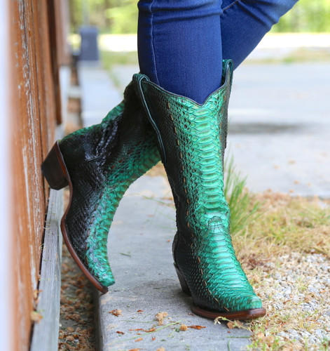 Corral Turquoise Full Python Woven Boots A3661 Picture
