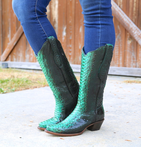 Corral Turquoise Full Python Woven Boots A3661 Image