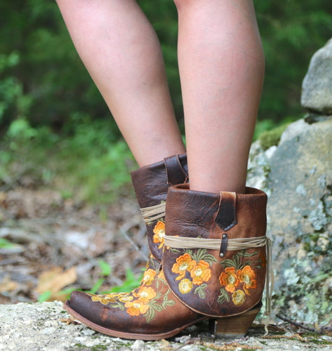 Corral Chocolate Lamb Embroidery Flipped Shaft Ankle Boot C3418 Side