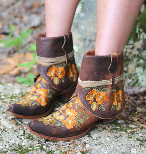 Corral Chocolate Lamb Embroidery Flipped Shaft Ankle Boot C3418 Image