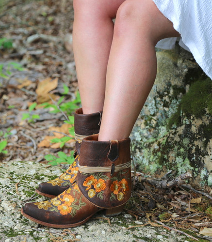 Corral Chocolate Lamb Embroidery Flipped Shaft Ankle Boot C3418 Picture