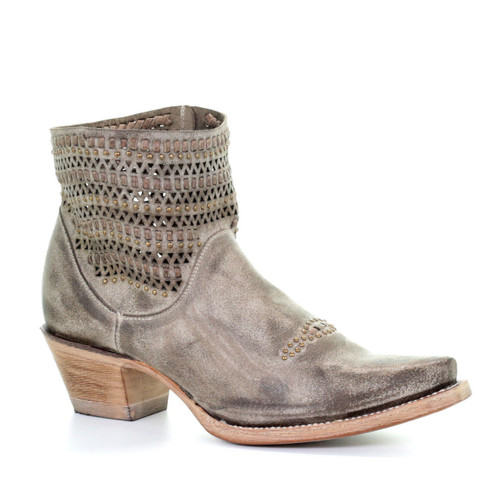 Corral Grey Cut Out Studs and Woven Ankle Boot E1418 Picture