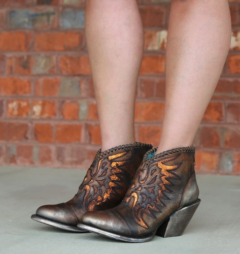 Corral Brown Eagle Woven Overlay Ankle Boot Z0031 Photo