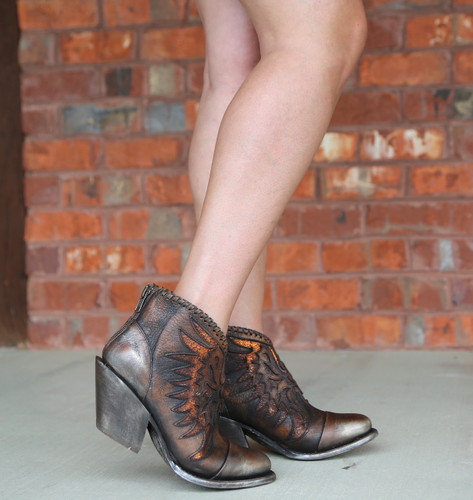 Corral Brown Eagle Woven Overlay Ankle Boot Z0031 Image