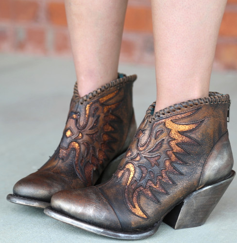 Corral Brown Eagle Woven Overlay Ankle Boot Z0031 Detail