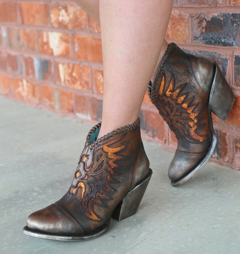Corral Brown Eagle Woven Overlay Ankle Boot Z0031 Picture