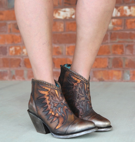 Corral Brown Eagle Woven Overlay Ankle Boot Z0031 Toe