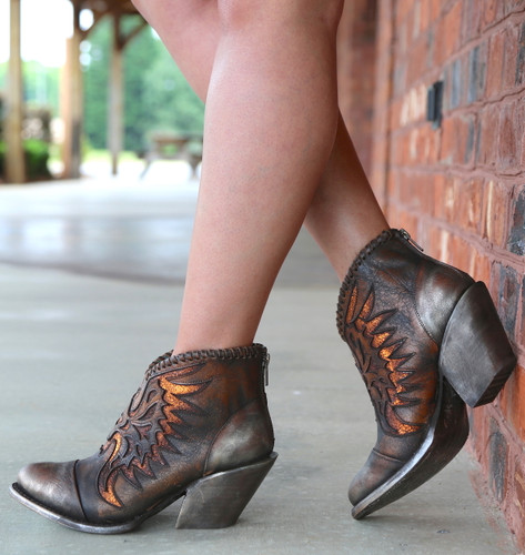Corral Brown Eagle Woven Overlay Ankle Boot Z0031 Heel
