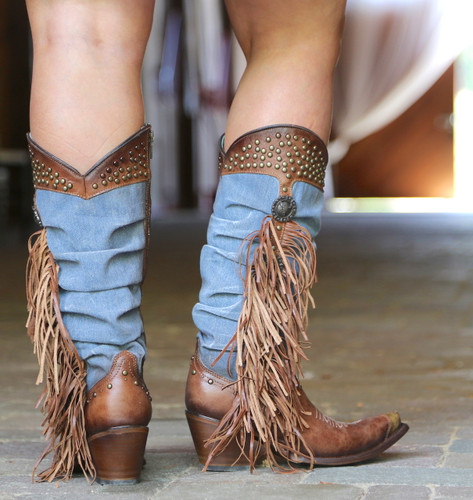 Corral Brown Denim Fringe Studs Tall Top Boots C3550 Heel
