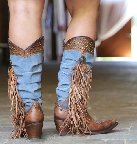 Corral Brown Denim Fringe Studs Tall Top Boots C3550 Heel