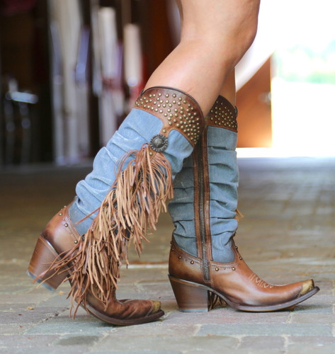 Corral Brown Denim Fringe Studs Tall Top Boots C3550 Image