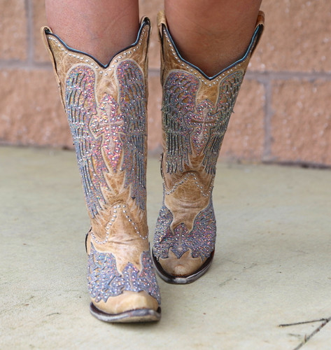 Corral Sand Wing and Cross Sparkle Boots A3742 Front