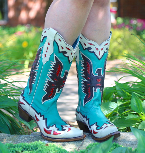 Corral Turquoise Eagle Retro Cowgirl Boot A3779 Photo