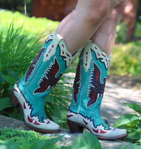 Corral Turquoise Eagle Retro Cowgirl Boot A3779 Side