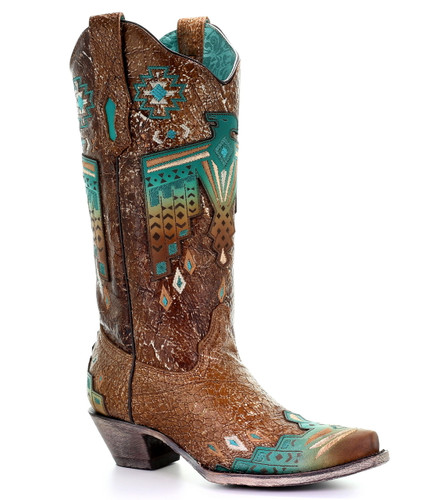 Corral Tobacco Overlay and Turquoise Eagle Embroidery Boots A3737 Picture