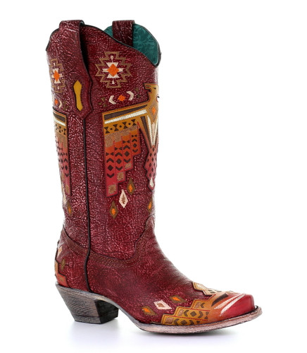 Corral Red Eagle Overlay and Embroidery Boots A3748 Picture
