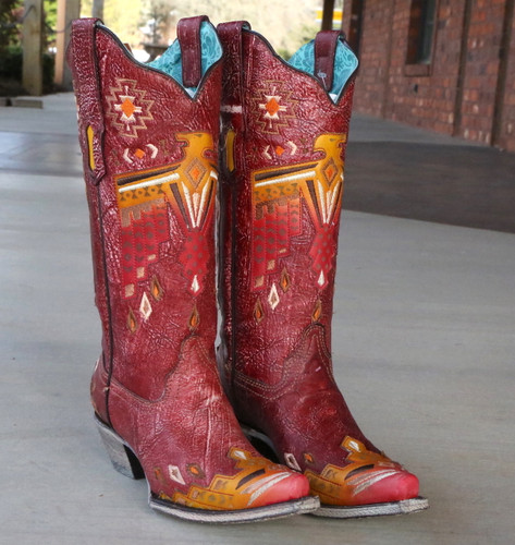 Corral Red Eagle Overlay and Embroidery Boots A3748 Image