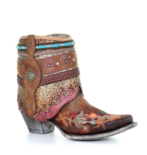 Corral Distressed Brown Floral Embroidery Flipped Shaft Ankle Boot A3687