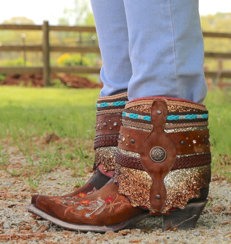 Corral Distressed Brown Floral Embroidery Flipped Shaft Ankle Boot A3687 Image