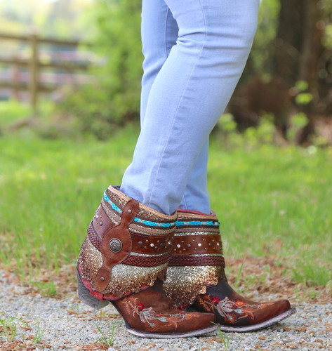 Corral Distressed Brown Floral Embroidery Flipped Shaft Ankle Boot A3687 Photo