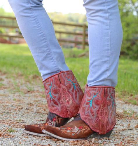 Corral Distressed Brown Floral Embroidery Flipped Shaft Ankle Boot A3687 Side