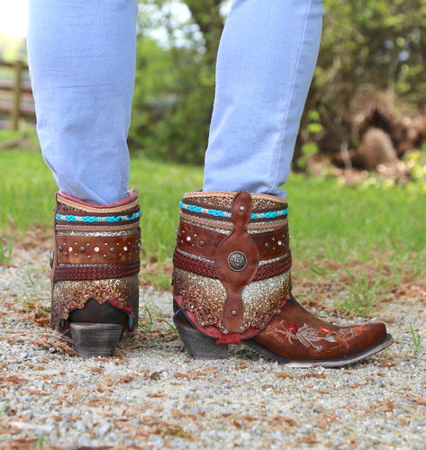 Corral Distressed Brown Floral Embroidery Flipped Shaft Ankle Boot A3687 Heel