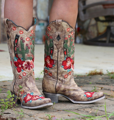 Corral Taupe Cactus Inlay and Embroidery Boots A3736 Picture