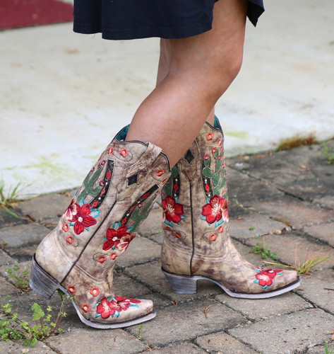 Corral Taupe Cactus Inlay and Embroidery Boots A3736 Image